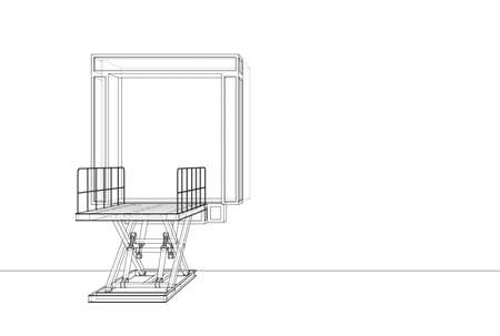 Dock leveler concept. Vector rendering of 3d. Wire-frame style. The layers of visible and invisible lines are separated