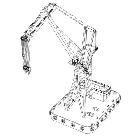 Floating crane. Vector rendering of 3d. Wire-frame style. The layers of visible and invisible lines are separated
