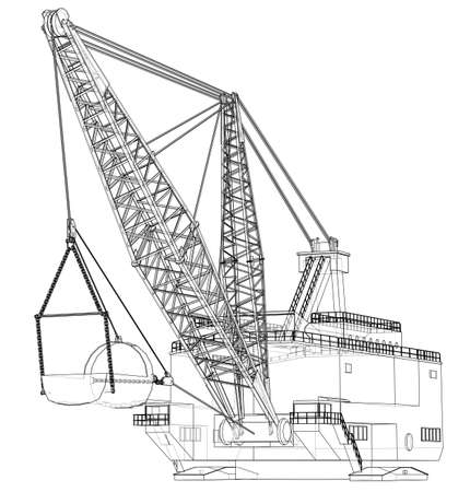 Dragline walking excavator. Vector rendering of 3d. Wire-frame style. The layers of visible and invisible lines are separated Illustration