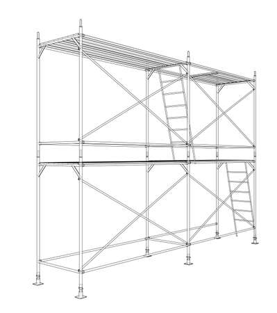 3D outline scaffold. Vector rendering of 3d. Wire-frame style. The layers of visible and invisible lines are separated Ilustração Vetorial