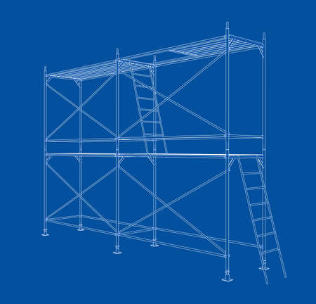 Andamio de contorno 3D. Representación vectorial de 3d. Estilo de marco de alambre. Las capas de líneas visibles e invisibles están separadas. Ilustración de vector