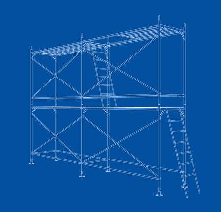 Impalcatura di contorno 3D. Rendering vettoriale di 3d. Stile wireframe. Gli strati di linee visibili e invisibili sono separati Vettoriali