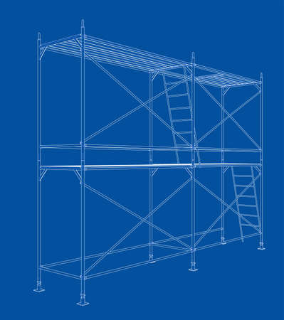 3D outline scaffold. Vector rendering of 3d. Wire-frame style. The layers of visible and invisible lines are separated