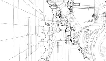 Sketch of industrial equipment Stock Photo