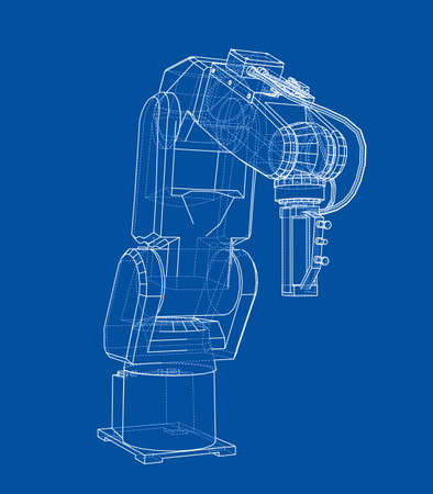 3D outline Robotic arm. Vector rendering of 3d. Wire-frame style. The layers of visible and invisible lines are separated