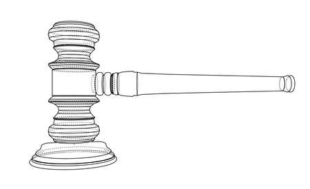 3D outline gavel. Vector rendering of 3d. Wire-frame style. The layers of visible and invisible lines are separated Vektorové ilustrace