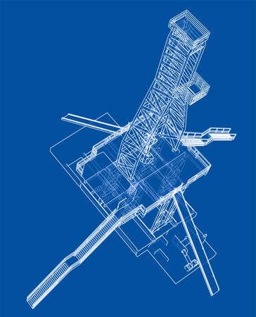Oil rig concept. 3d illustration Standard-Bild