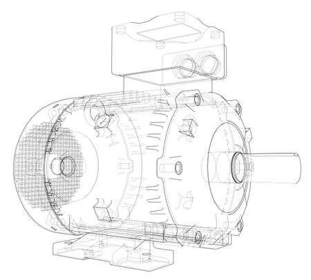 Electric motor outline. 3d illustration Stock Photo