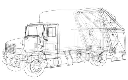 Garbage truck concept. 3d illustration