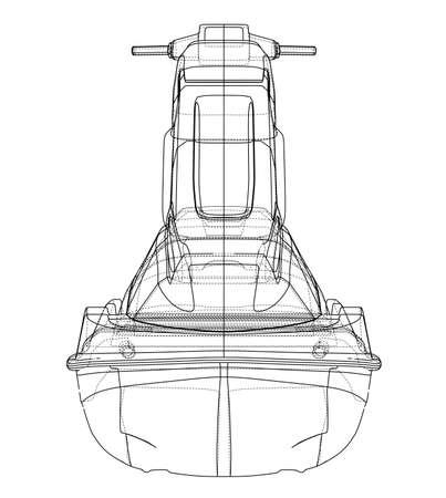 Jet ski sketch. 3d illustration Banque d'images