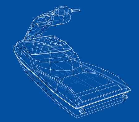 Jet ski sketch. 3d illustration Stock Photo