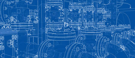 Sketch of industrial equipment. 3d illustration