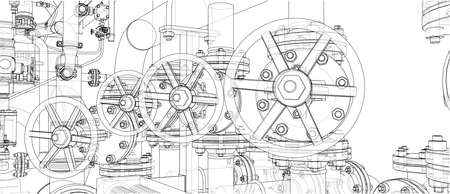 Sketch of industrial equipment. 3d illustration Reklamní fotografie - 112924998