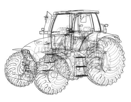 Farm Tractor Concept. 3d illustration