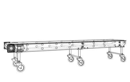 3D outline conveyor belt. 3d illustration Banque d'images - 113052163