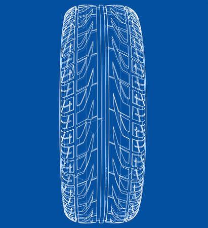Car tire concept. 3d illustration
