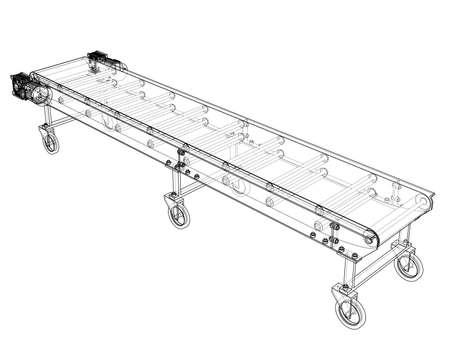3D outline conveyor belt. 3d illustration Stock Photo
