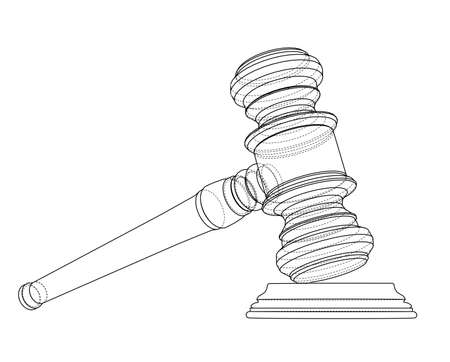 3D outline gavel. Vector rendering of 3d. Wire-frame style. The layers of visible and invisible lines are separated