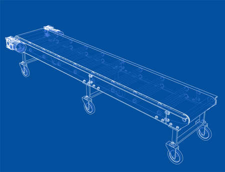3D outline conveyor belt. Vector rendering of 3d. Wire-frame style. The layers of visible and invisible lines are separated