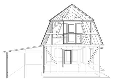 Private house sketch. Vector rendering of 3d. Wire-frame style. The layers of visible and invisible lines are separated