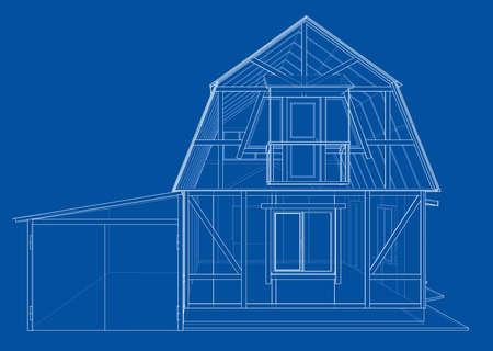 Rendu 3D de la structure filaire de la maison. Conception de construction vectorielle