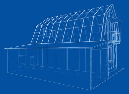 3D rendering of house wireframe structure. Vector construction design Illustration