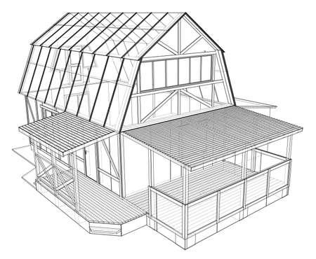 Croquis de maison privée. Rendu vectoriel de 3d. Style fil de fer. Les couches de lignes visibles et invisibles sont séparées Vecteurs