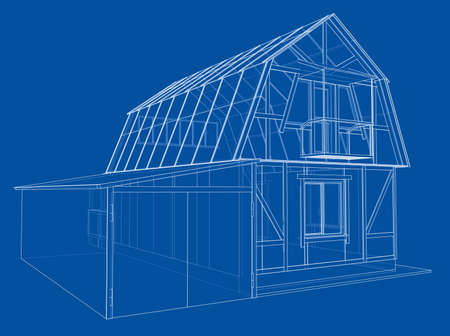House sketch. Vector rendering of 3d. Wire-frame style