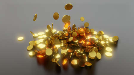 Falling gold coins. The concept of success Фото со стока