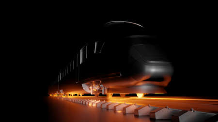 Abstract composition of night high-speed train