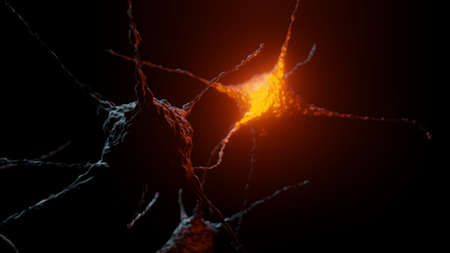 Neurons abstract dark background with red flares