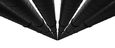 Row of black industrial pipelines isolated on white background