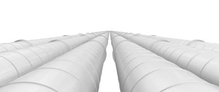 Row of white industrial pipelines isolated on white background
