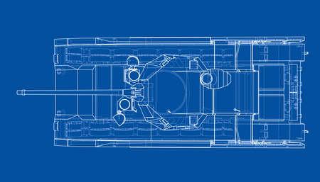 Blueprint of realistic tank. Vector EPS10 format, rendering of 3d 일러스트