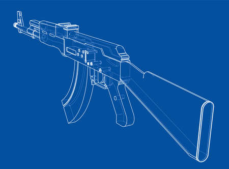 Machine Gun. Vector rendering of 3d. Wire-frame style. The layers of visible and invisible lines are separated