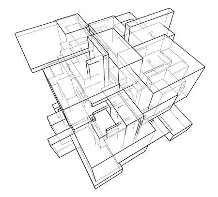 Wireframe Boxes. Sketch style. 3D Rendering Vector Illustration EPS10
