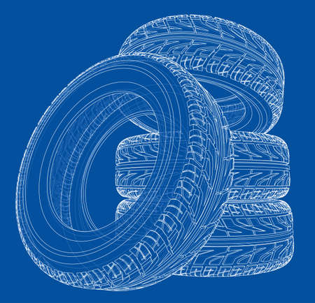 Car tires concept. Vector rendering of 3d. Wire-frame style. The layers of visible and invisible lines are separated