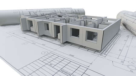 Built walls of a house on construction drawings Stok Fotoğraf