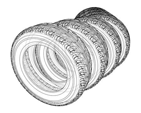 Car tires concept. Vector rendering of 3d