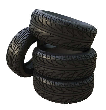 Group black tires, isolated