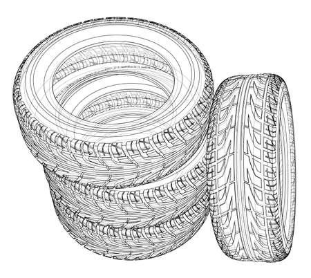 Car tires concept. Vector rendering of 3d