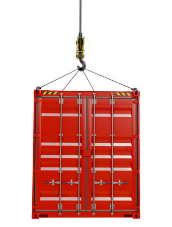 Red cargo container hoisted by hook
