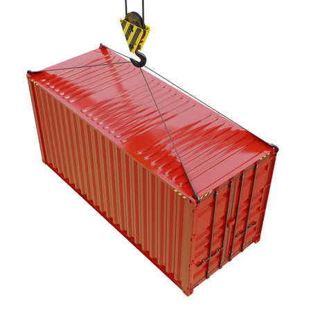 Cargo container with hook isolated on white Stock Photo