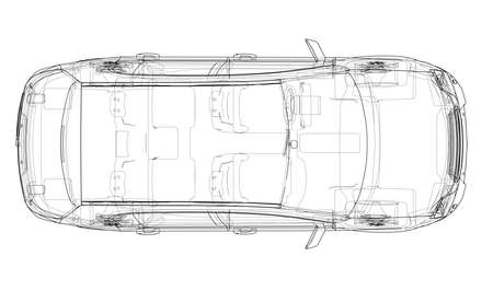 Concept car. Vector rendering of 3d. Wire-frame style. The layers of visible and invisible lines are separated Vetores