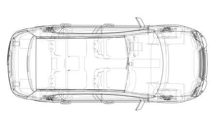 Konzeptauto. Vektor-Rendering von 3d. Wire-Frame-Stil. Die Ebenen der sichtbaren und unsichtbaren Linien werden getrennt Vektorgrafik