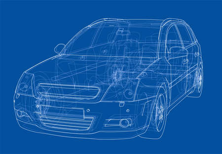 Concept car. Vector rendering of 3d. Wire-frame style. The layers of visible and invisible lines are separated Vektorové ilustrace