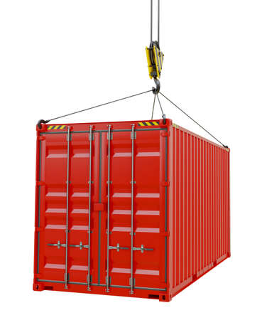 Service delivery - red cargo container hoisted by hook