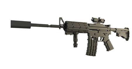 3d printed machine gun isolated Stok Fotoğraf
