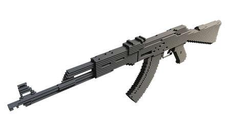 3d printed machine gun isolated Stock Photo