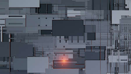 3d render Abstract Technology Background With Cubes Stockfoto